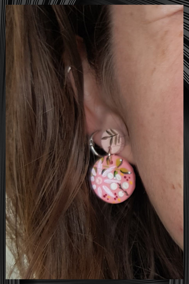 Pink & Terracotta Tiny Drop Earrings