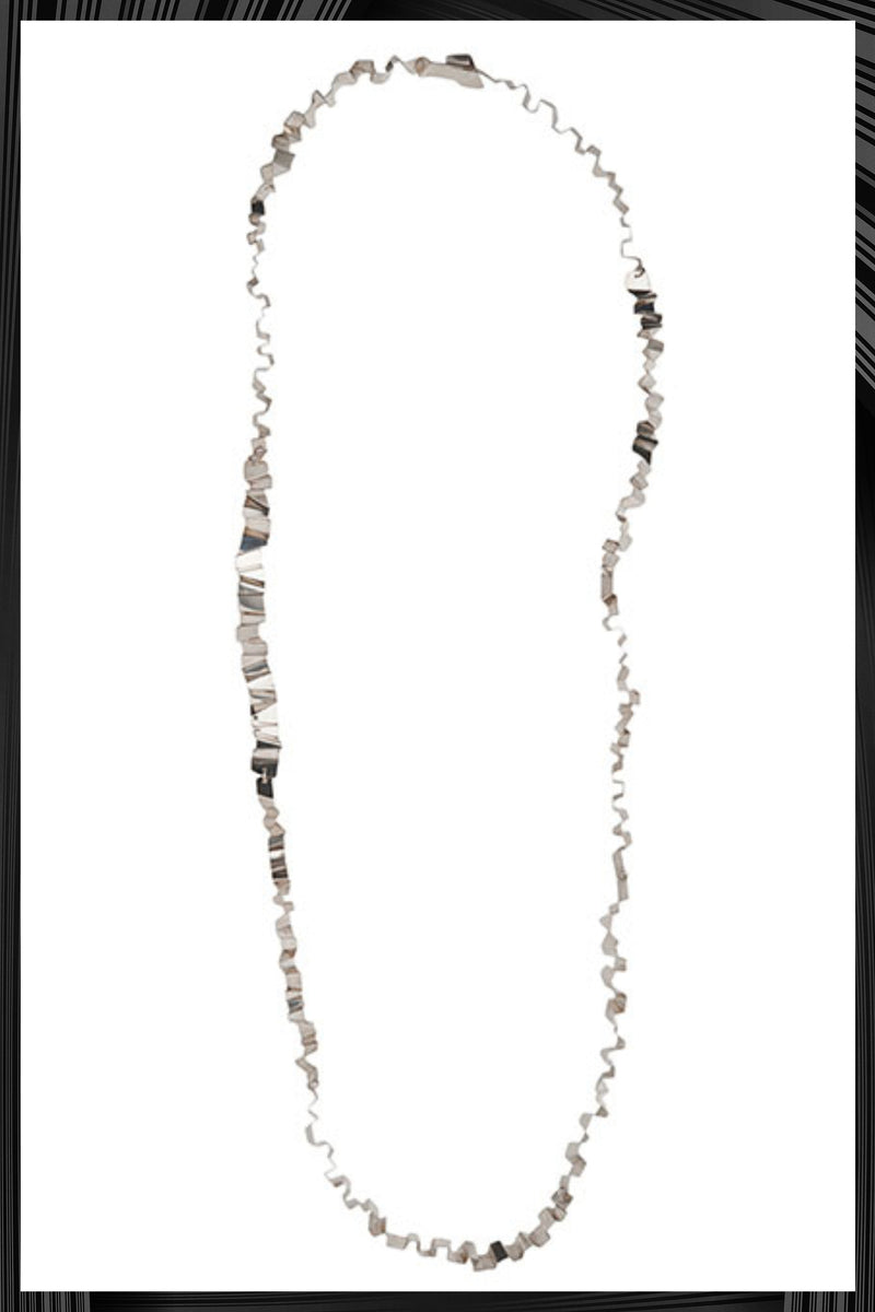Long Silver Tagliatella Necklace