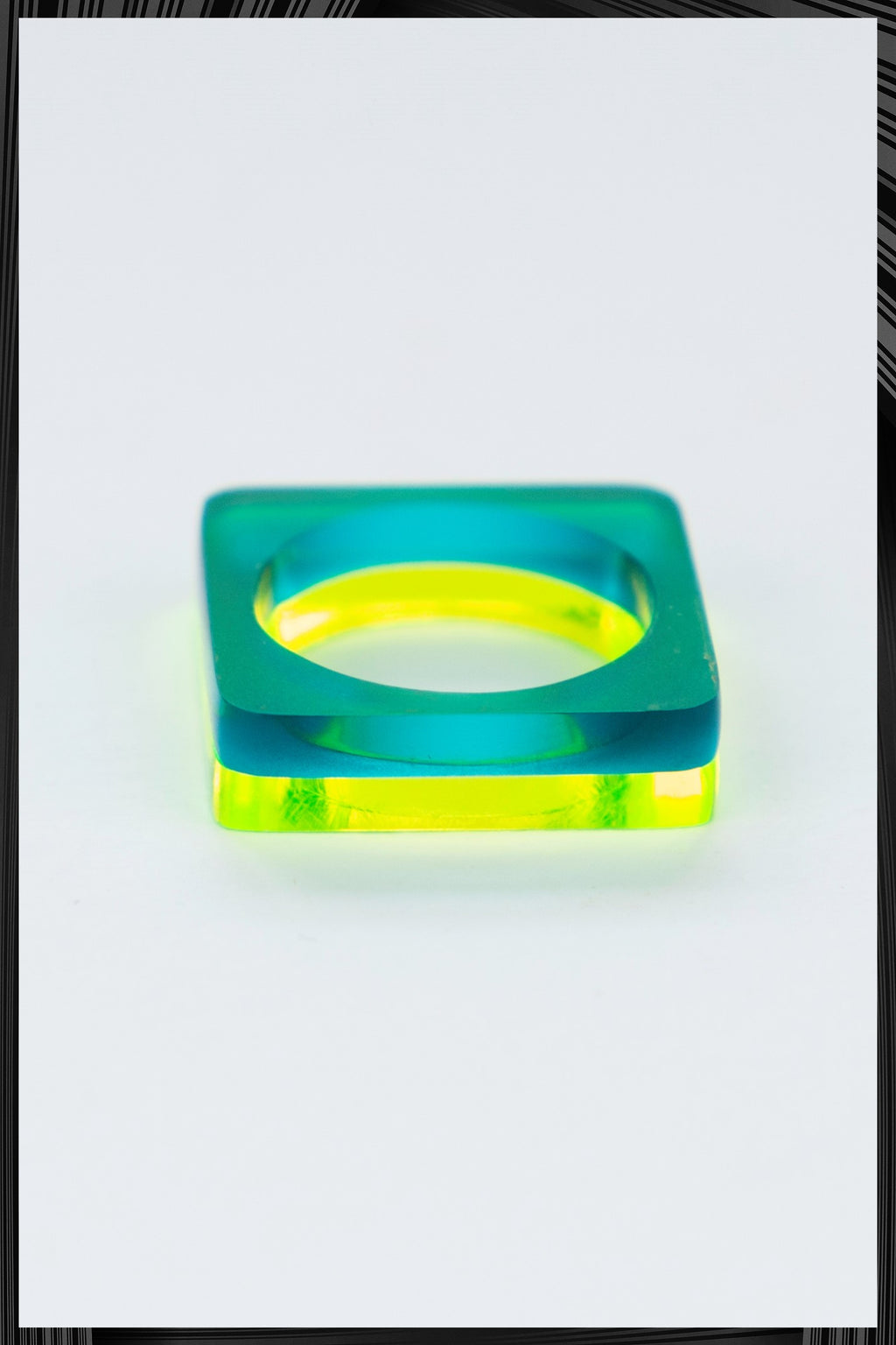 Summer Green Square Ring Set