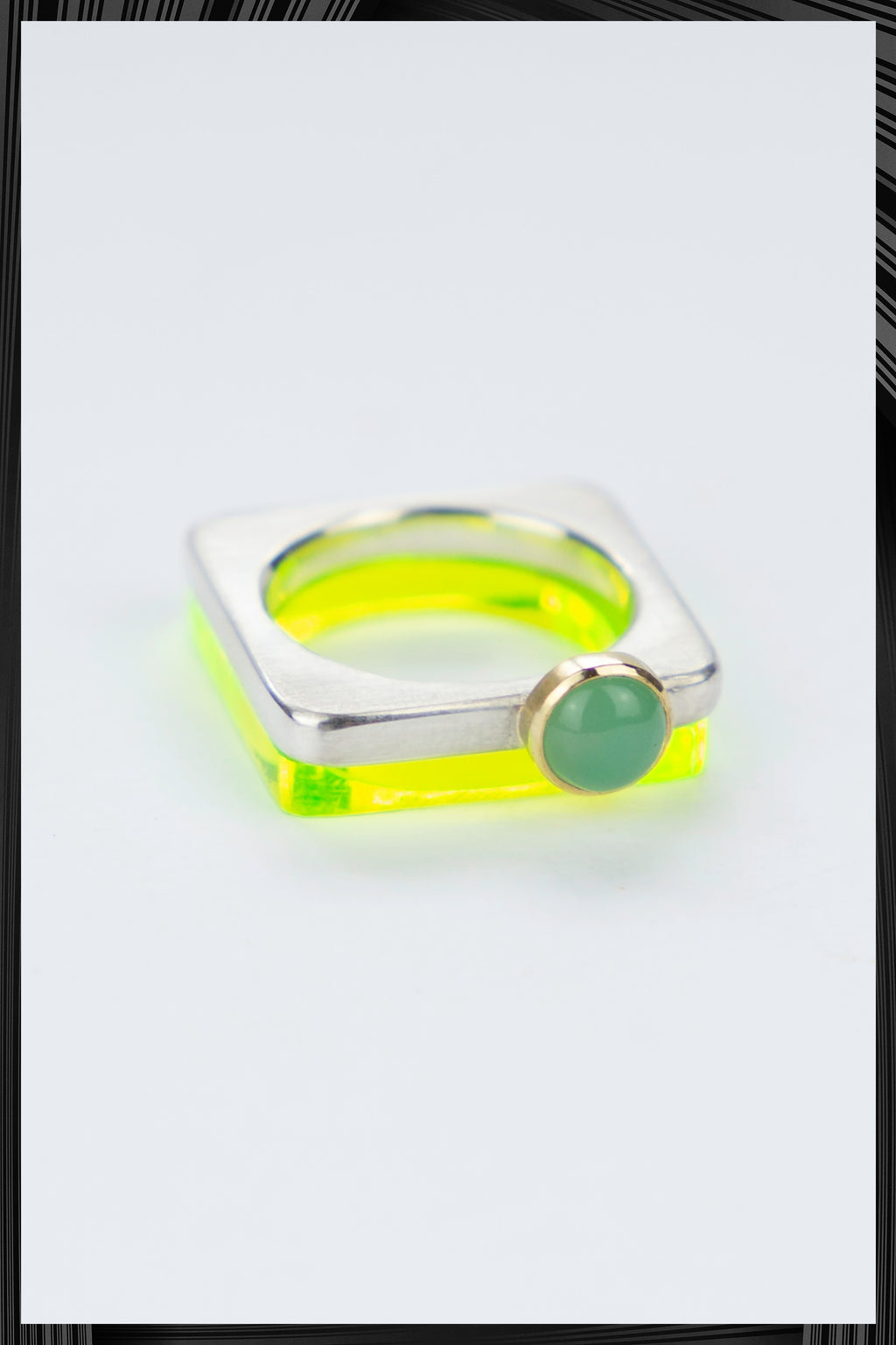 Chrysoprase Summer Green Square Ring Set