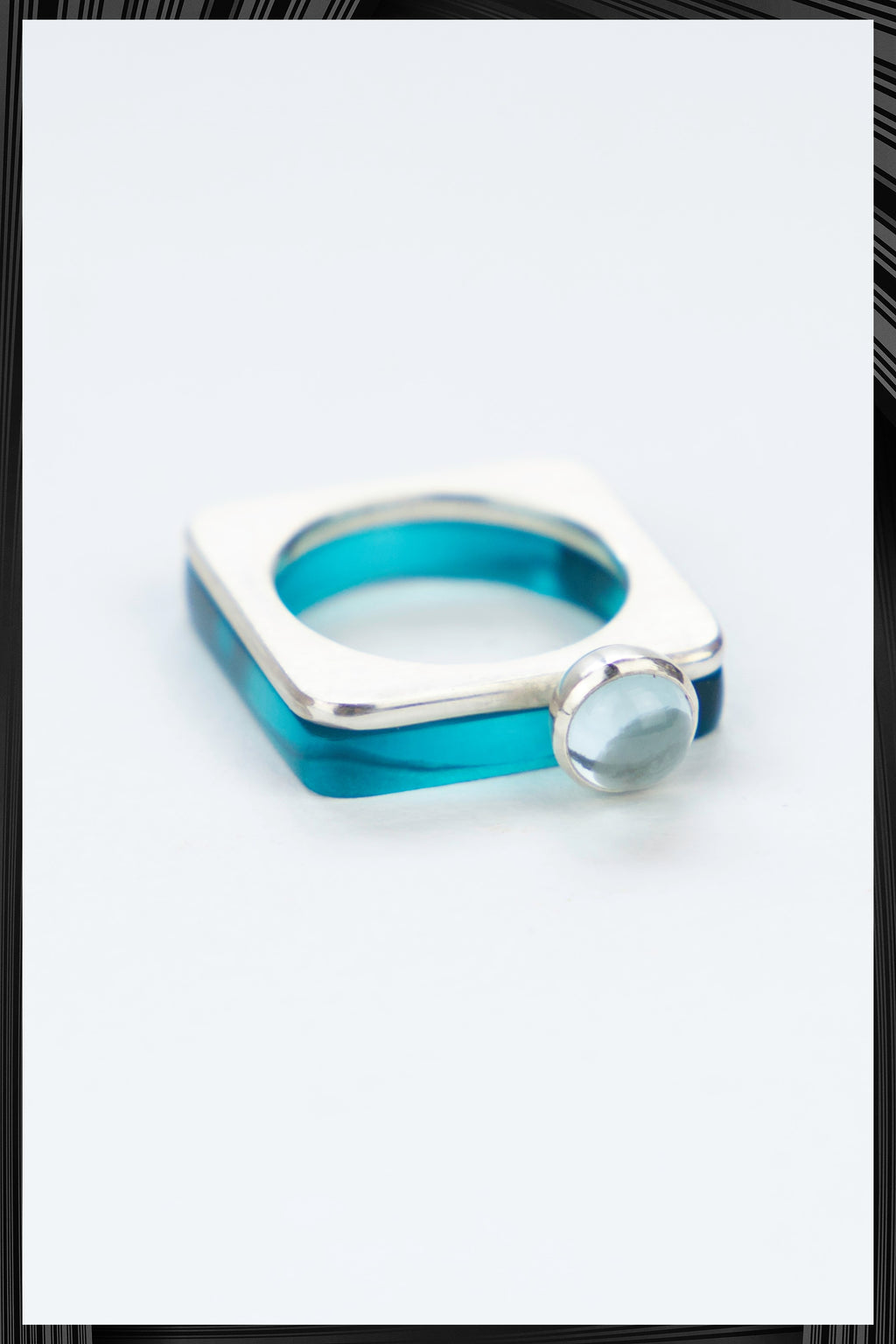 Pale Topaz Summer Blue Square Ring Set | Free Delivery - 2-3 Weeks Shipping