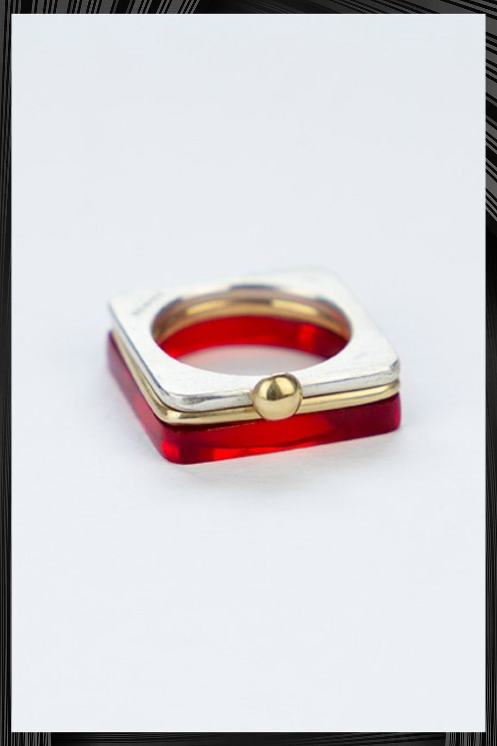 Summer Red & Gold Square Ring Set