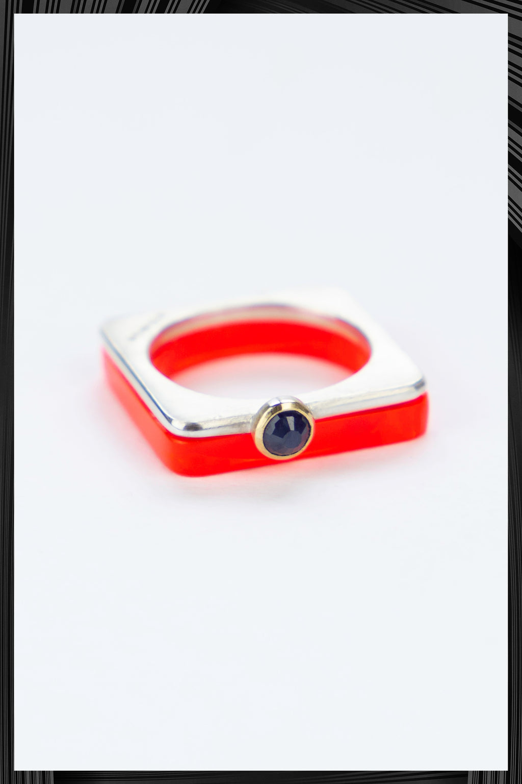 Blue Sapphire Summer Red Square Ring Set