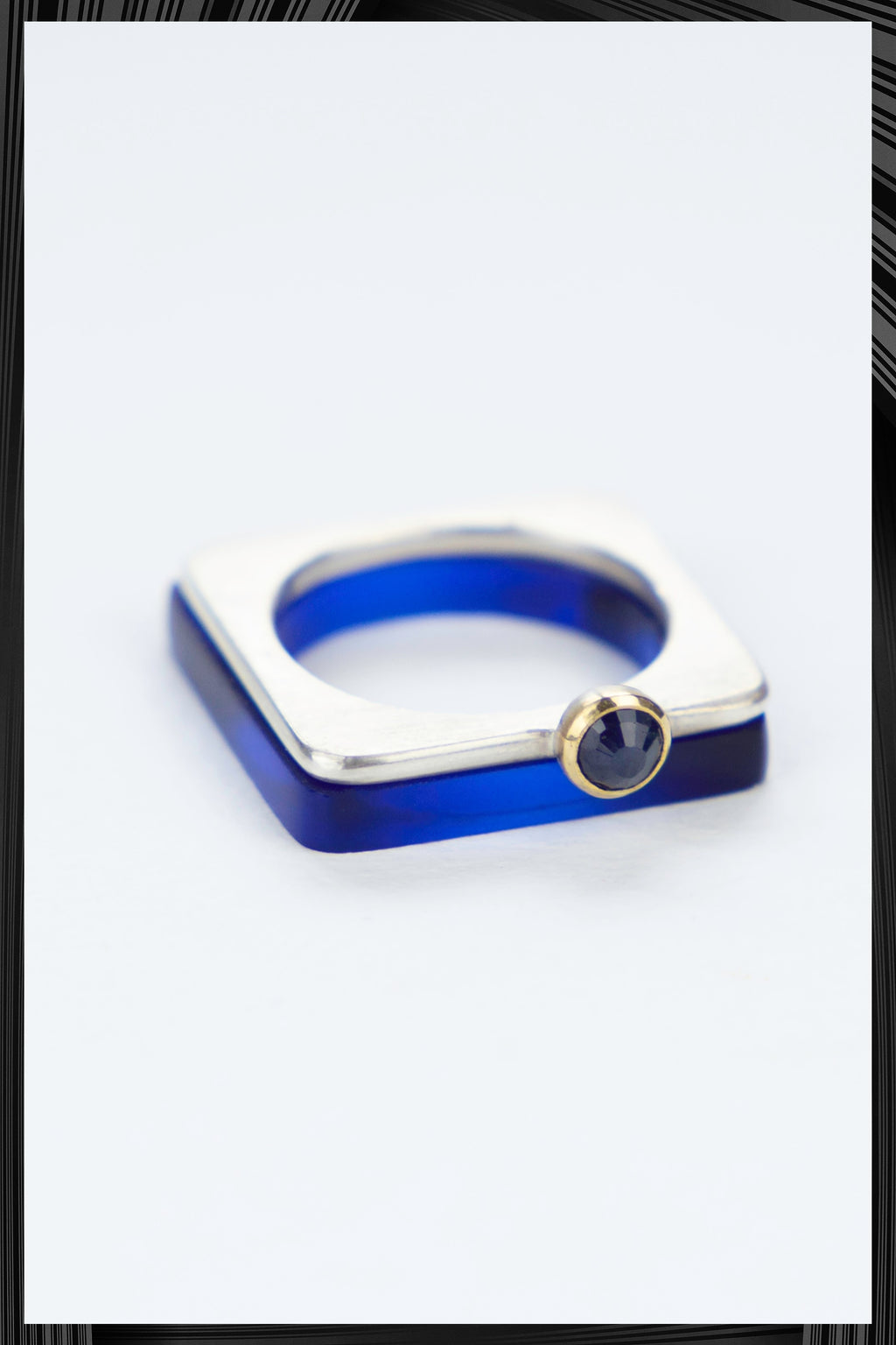 Blue Sapphire Summer Blue Square Ring Set