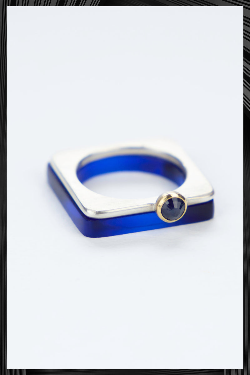 Blue Sapphire Summer Blue Square Ring Set | Free Delivery - 2-3 Weeks Shipping