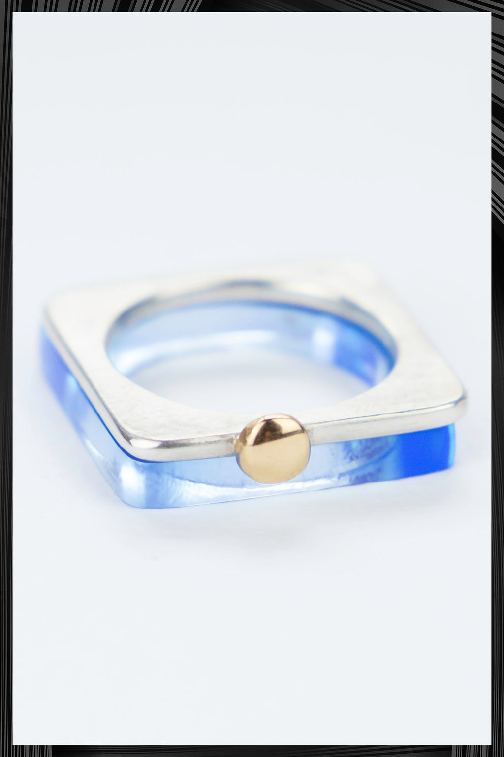 Summer Light Blue & Gold Square Ring Set