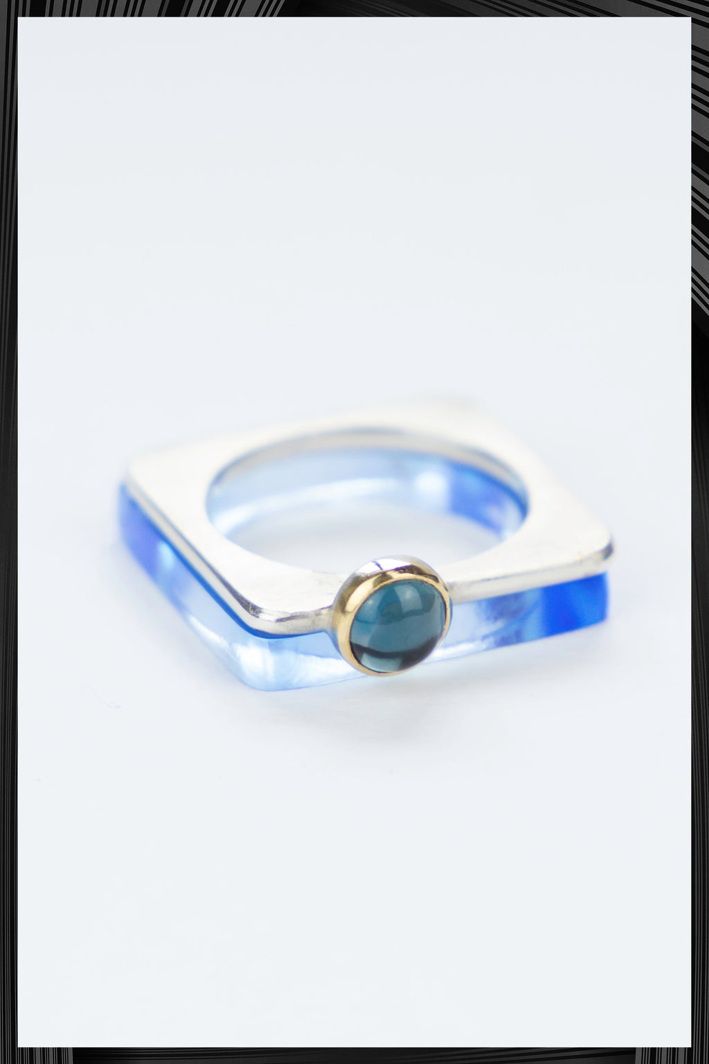 Topaz Summer Light Blue Square Ring Set