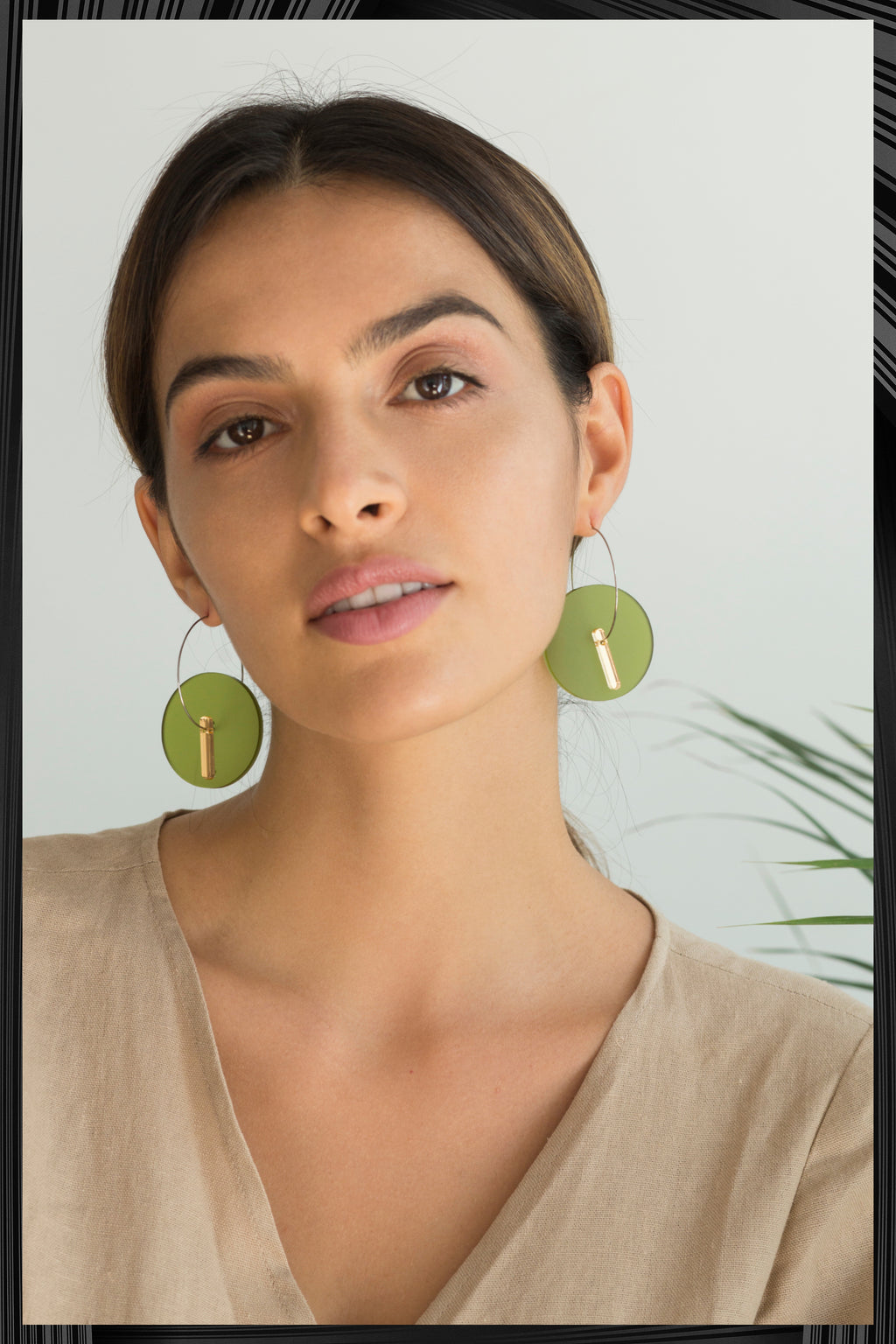 Olive Green Frosted Circle Earrings | Quick Shipping