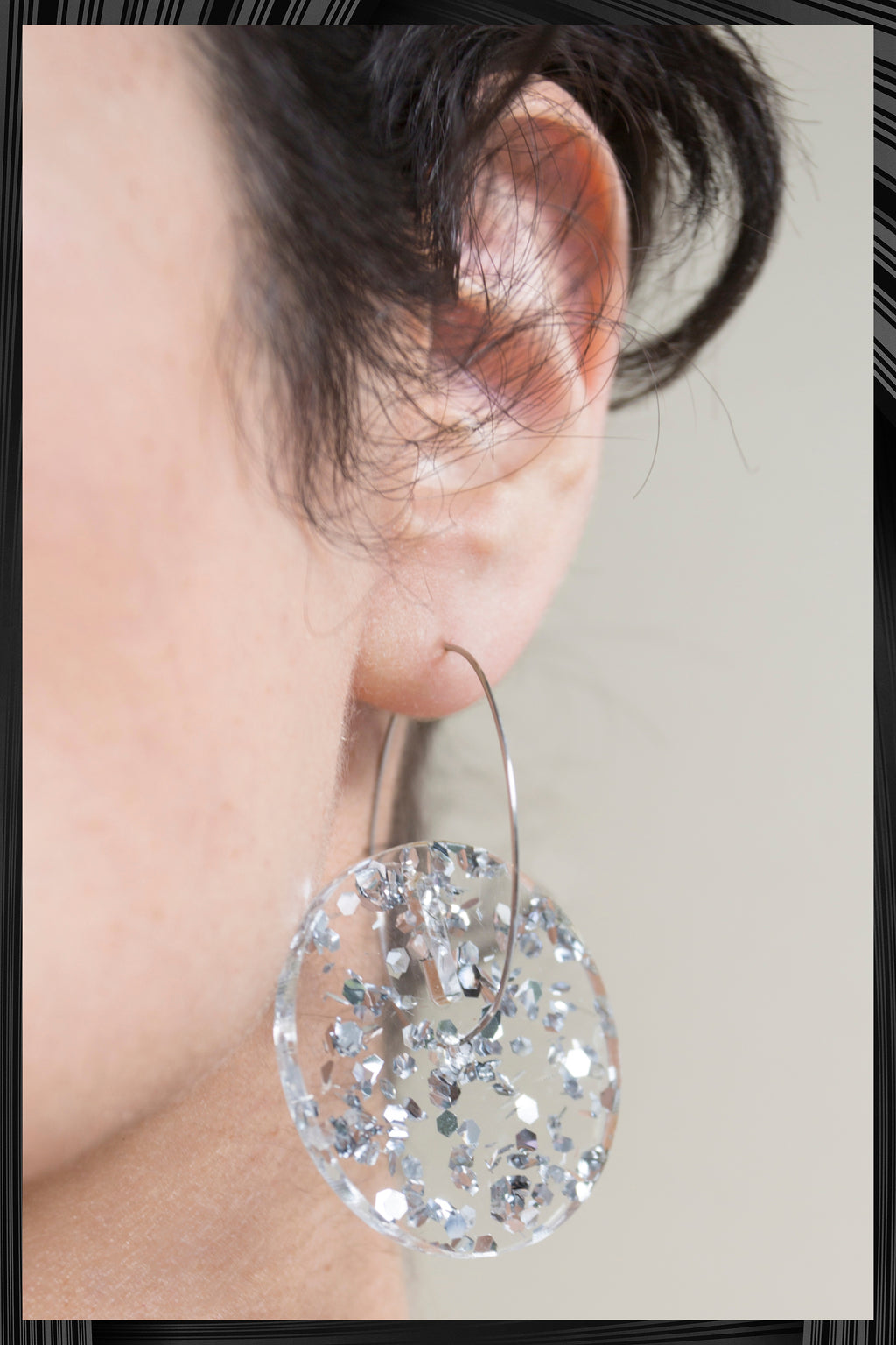 Silver Sparkle Big Circle Earrings | Quick Shipping