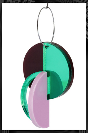 Rodchenko Green Mirrored Earrings| Free Delivery - Quick Shipping