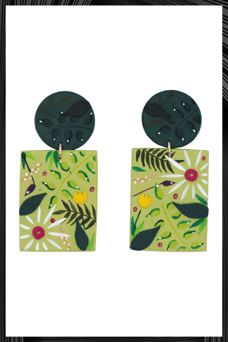 Green Floral Rectangle Stud Earrings | Free Delivery - Quick Shipping