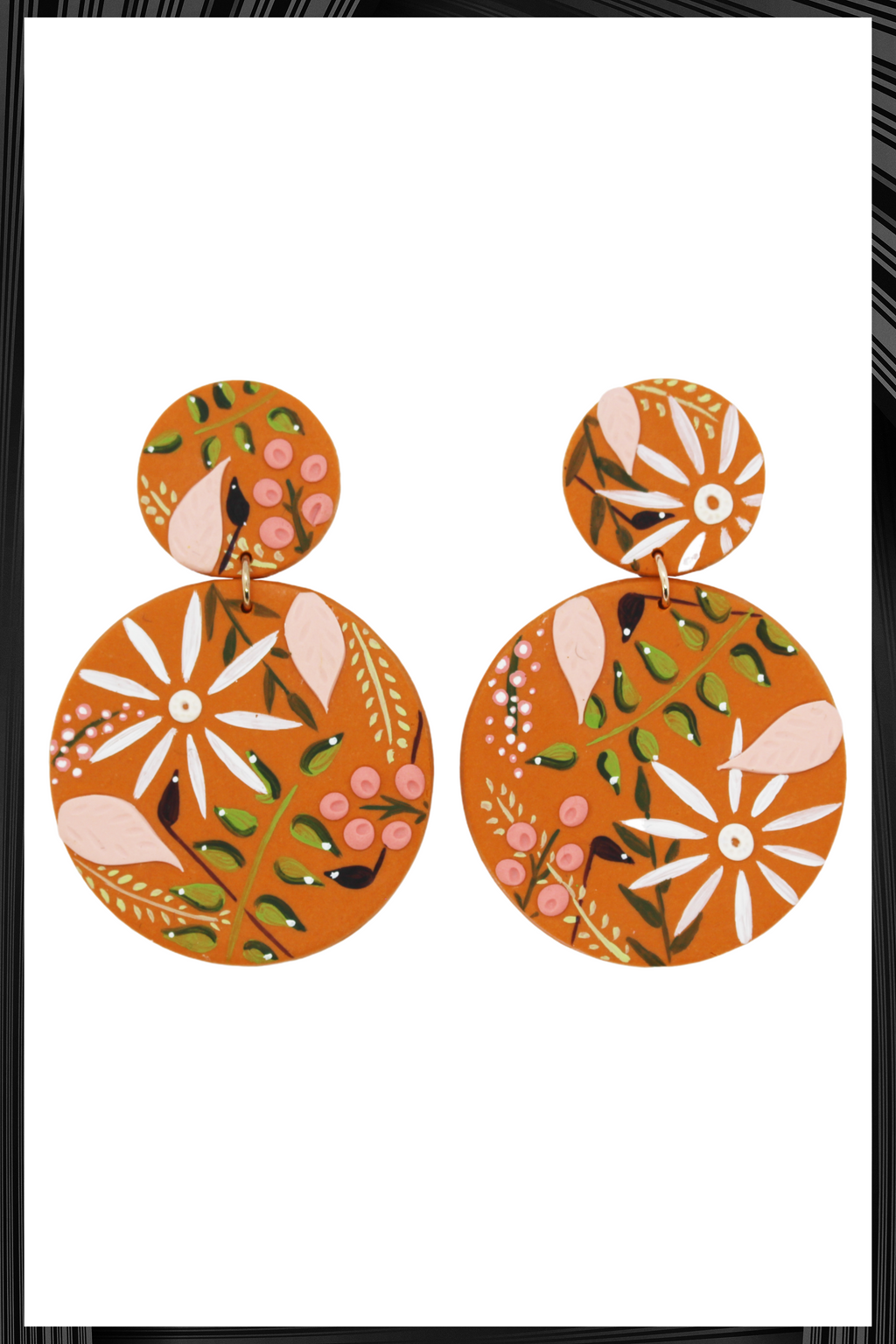 Terracotta Circle Drop Earrings | Free Delivery - Quick Shipping
