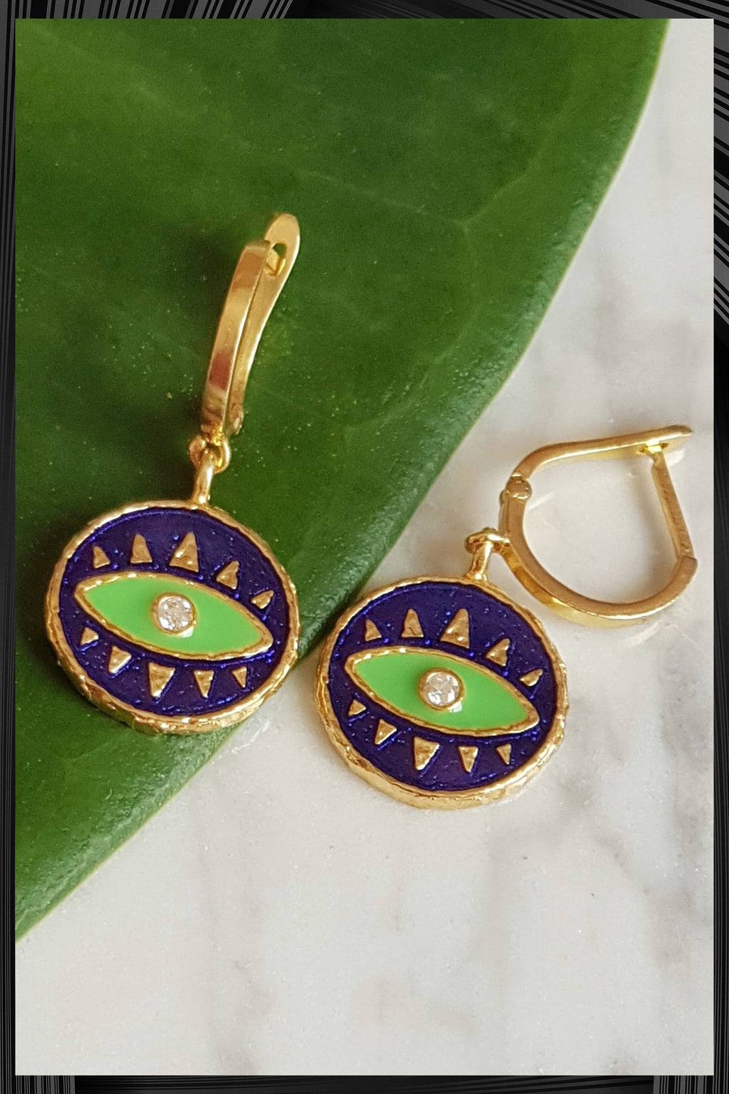 Green Evil Eye Hoop Earrings | Free Delivery - Quick Shipping