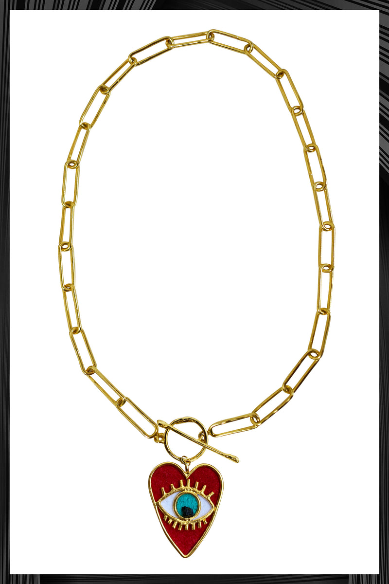 Heart Eye Thin Link Chain Necklace | Free Delivery - 3 Week Shipping