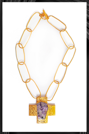 Gold Chain Charoite Cross Necklace | Free Delivery - Quick Shipping