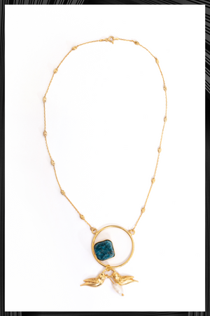 Apatite Gold Birds Necklace | Free Delivery - Quick Shipping