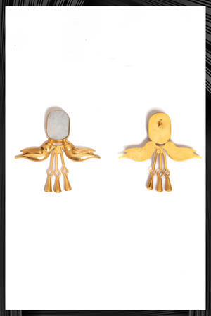 Morganite Gold Bird Earrings | Free Delivery - Quick Shipping