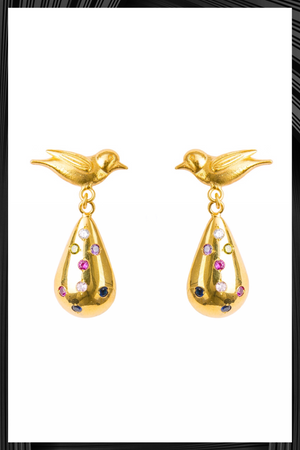 Tear Drop Birds Earrings | Free Delivery - Quick Shipping