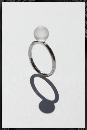 Small Frosted Solo Sphere Ring | Free Delivery - 3 Week Shipping