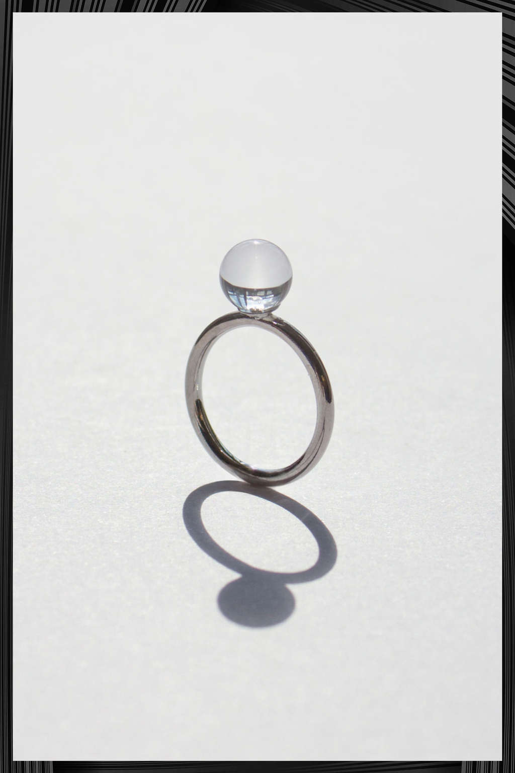 Small Clear Solo Sphere Ring | Free Delivery - 3 Week Shipping