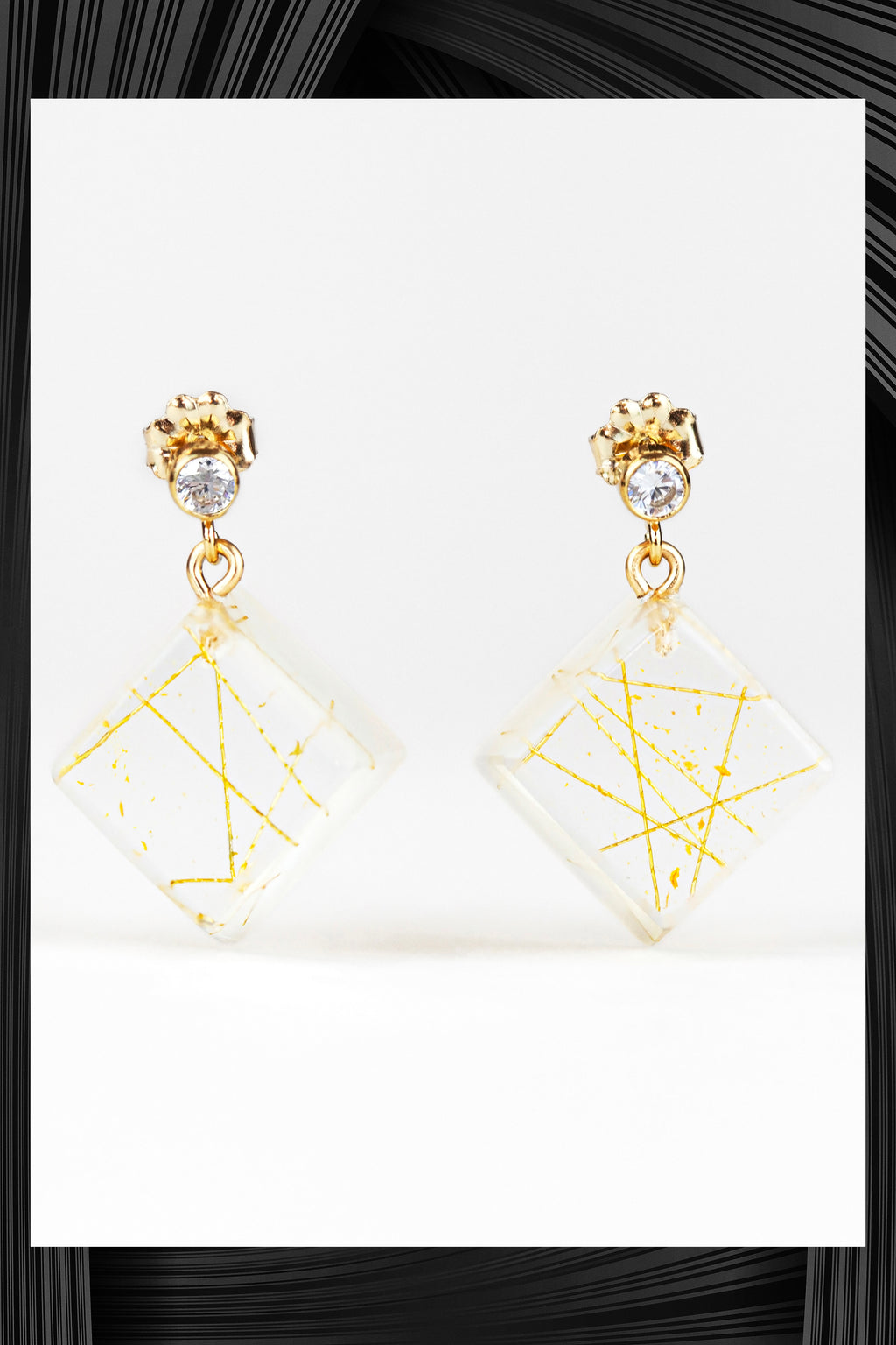Cubic Zirconia Square Resin Drop Earrings | Free Delivery - Quick Shipping