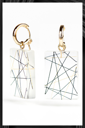 Cross Strings Resin Hoop Earrings | Free Delivery - Quick Shipping