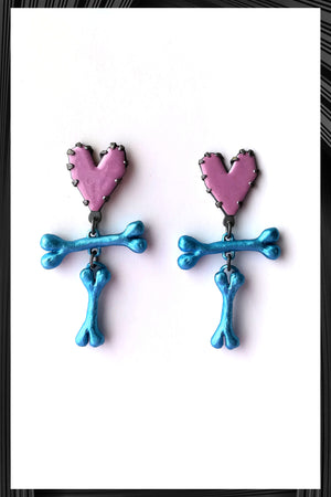 Yabba Dabba Doo Hearts & Bones Earrings | Free Delivery - Quick Shipping