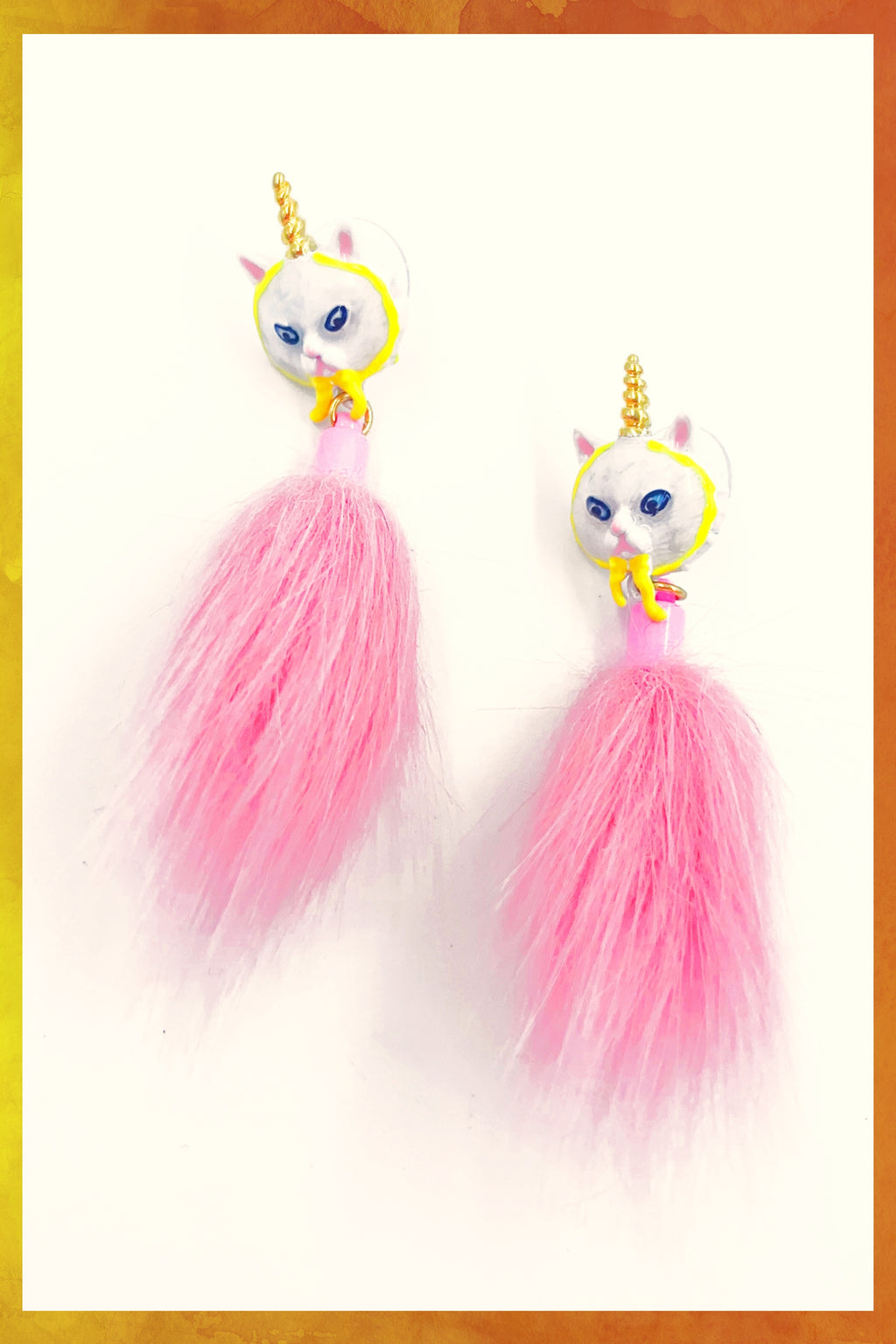 Persian Cat Edgar Pink Poof Earrings