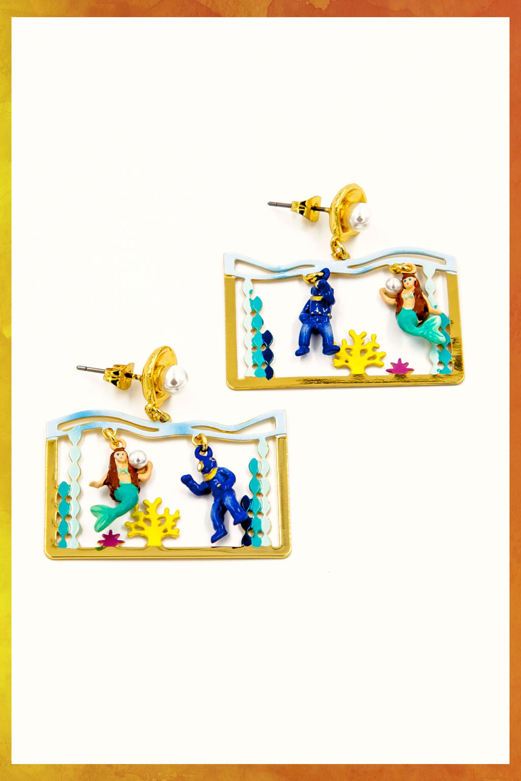 Underwater Mermaid and Diver Earrings