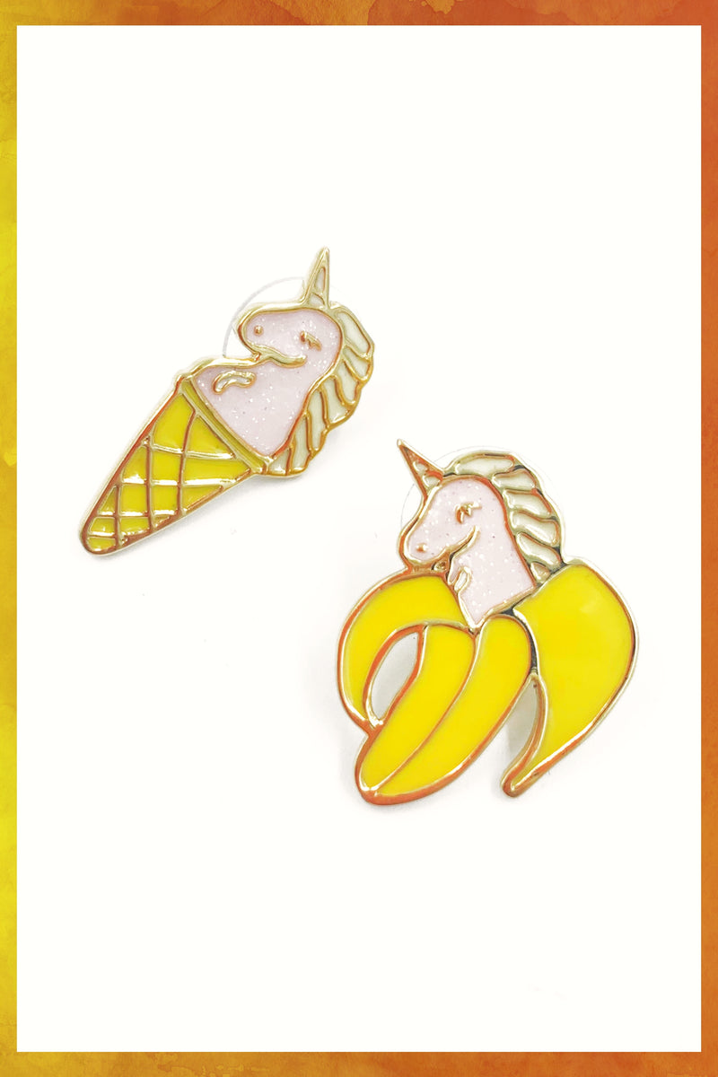 Unicorn Banana Cone Earrings