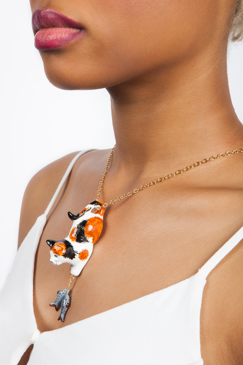Iris Trends Calico Cat Necklace With Fish by Nach Bijoux France