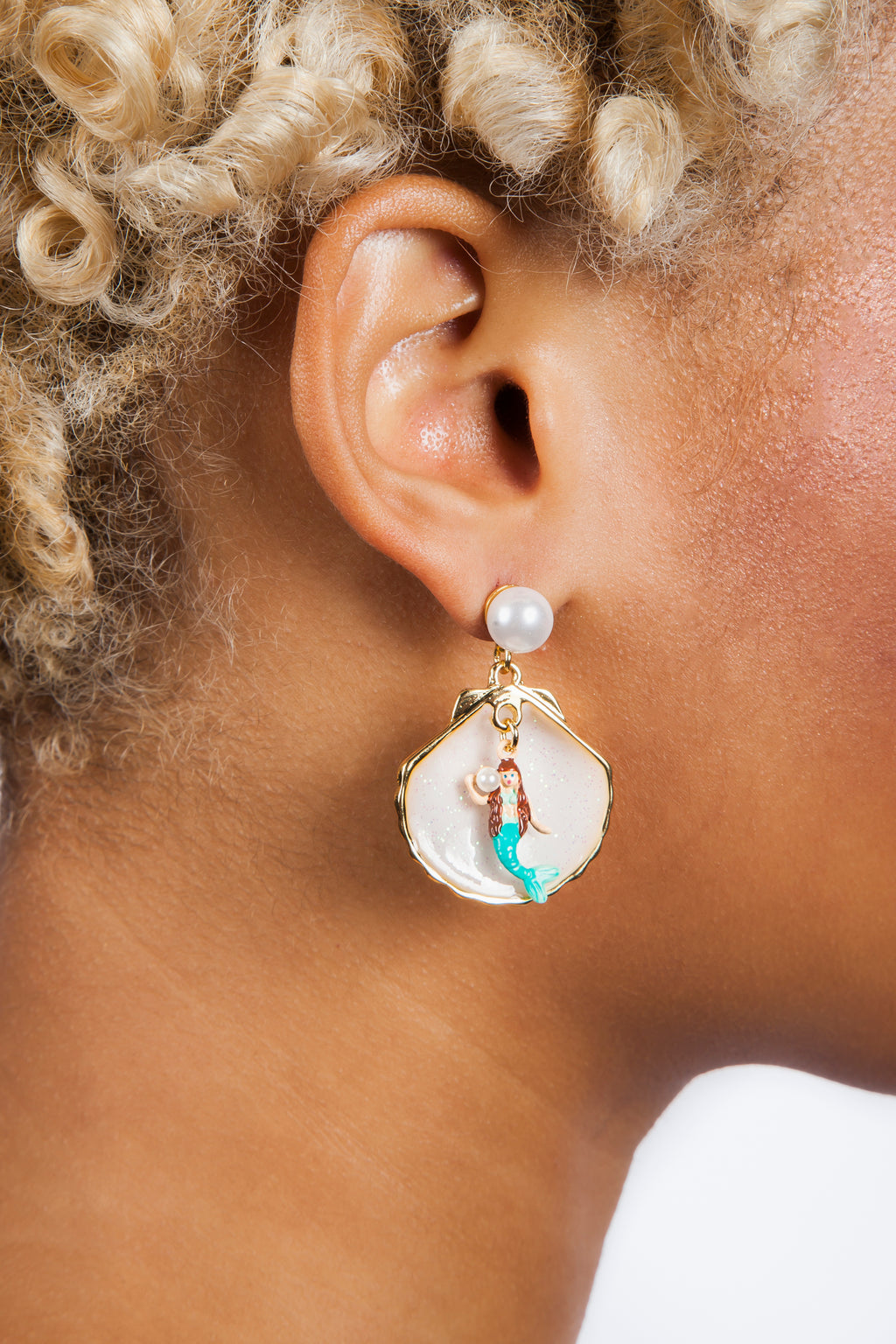 Mermaid In Seashell Earrings