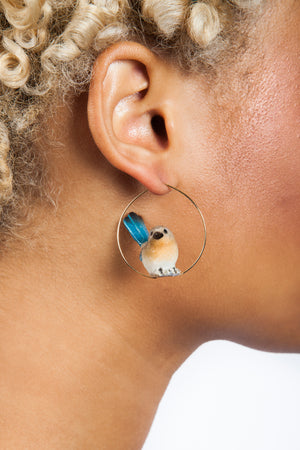 Iris Trends Hoop Blue Robin Bird Earrings by Nach Bijoux France