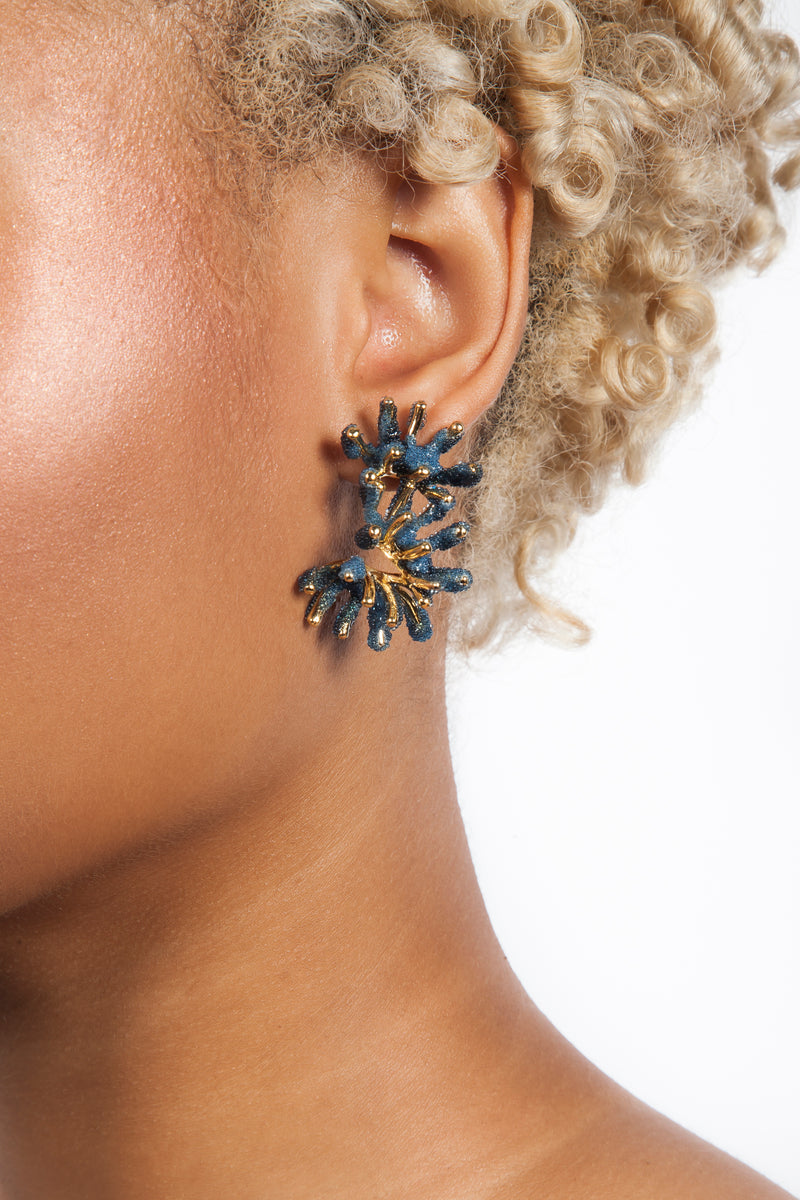 Iris Trends Pigmented Glass Sandrine Blue Coral Earrings by Aisegul Telli Turkey