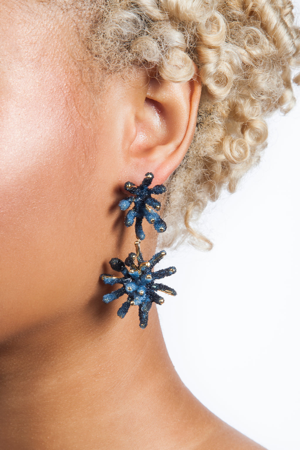 Iris Trends Pigmented Glass Cobalt Blue Coral Earrings by Aisegul Telli Turkey