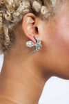 White Swallow Clip Earrings