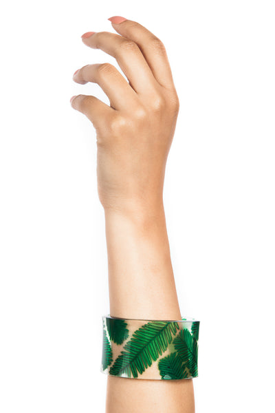Iris Trends Green Acrylic Conifer Floral Cuff Bracelet by Sue Gregor England