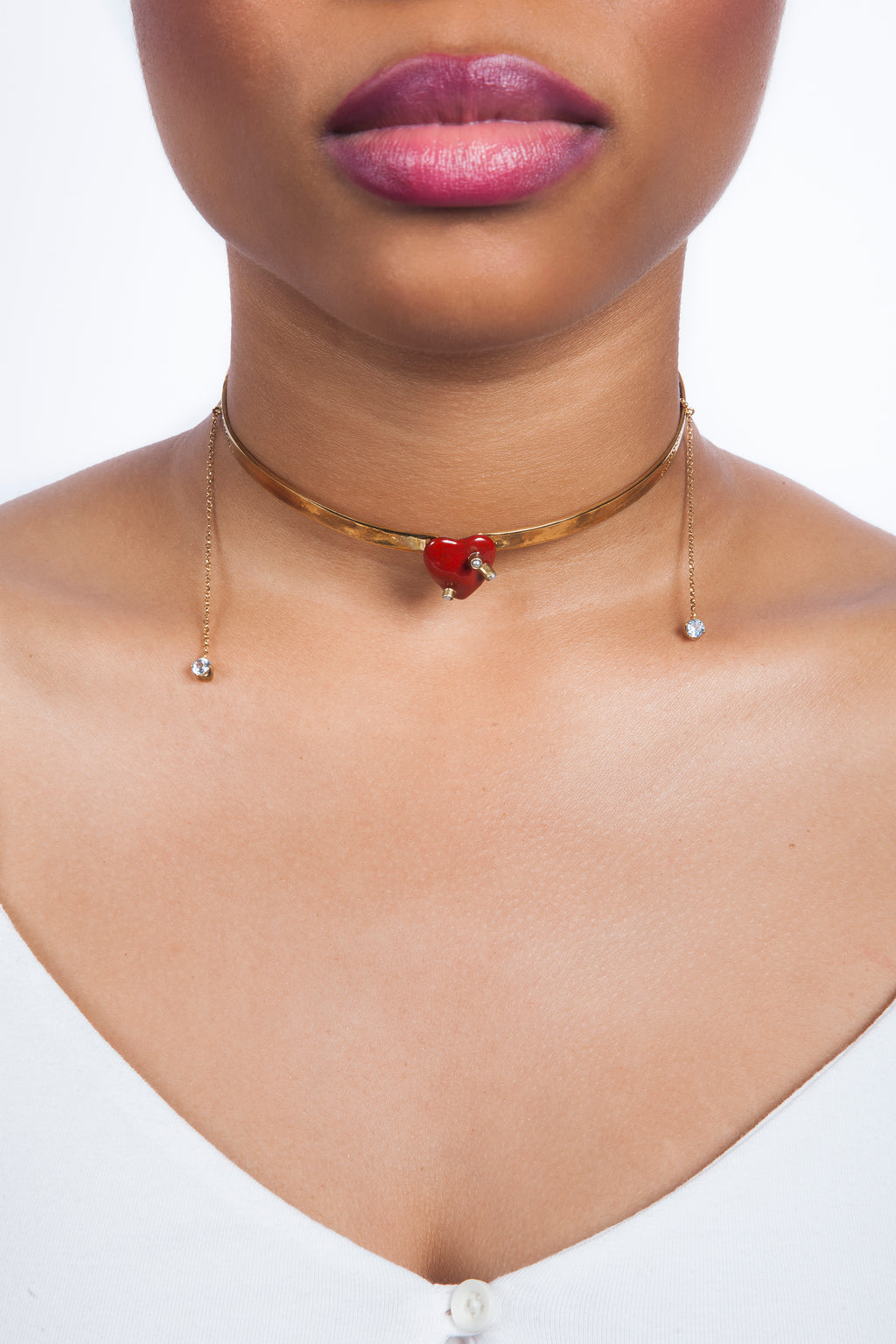 Beatriz Palacios Enamel Heart Choker Necklace