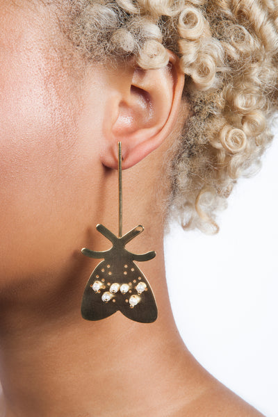 Colombian Jewelry Gold Moth Earrings Insect Jewelry