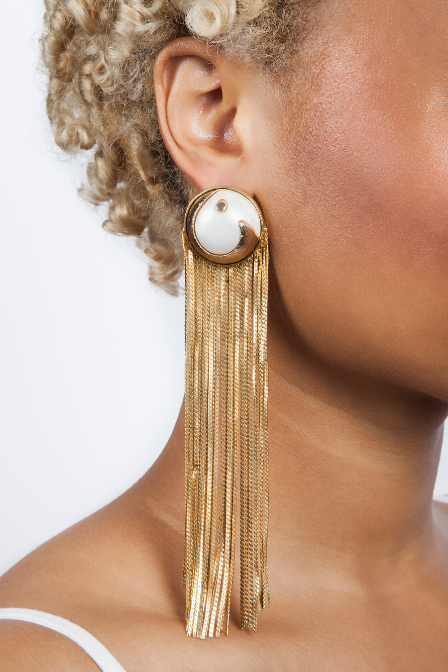 White Stone Gold Metal Tassel Earrings