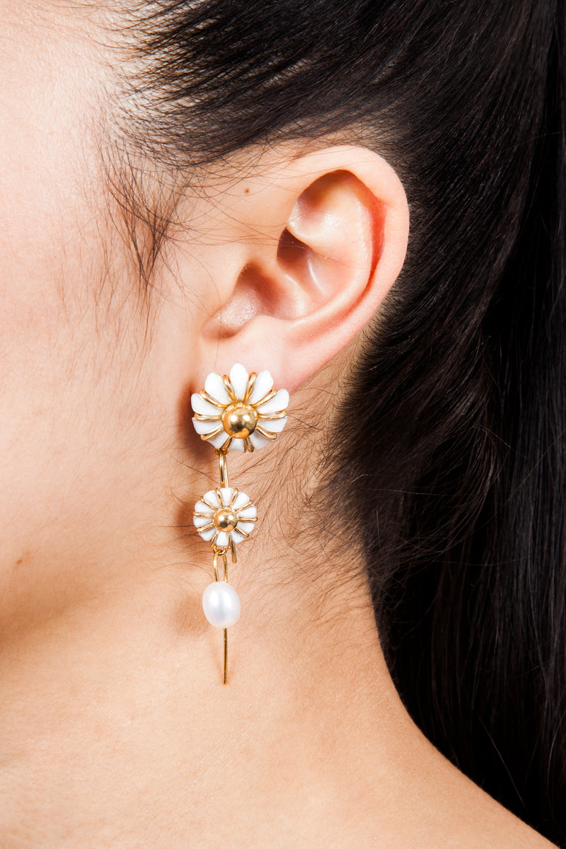 Beatriz Palacios Daisy and Fresh Water Pearl Stackable Earrings