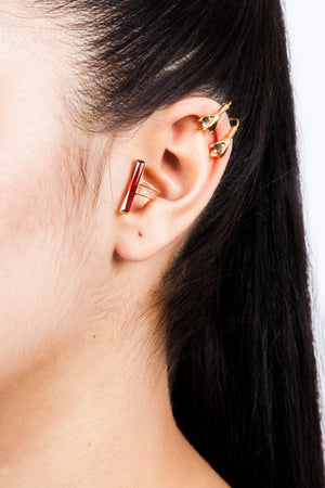 Beatriz Palacios Red Ear Cuff Ear Clip
