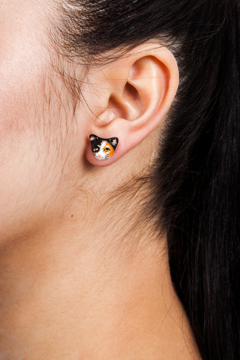 Iris Trends Porcelain Calico Cat Earrings by Nach Bijoux