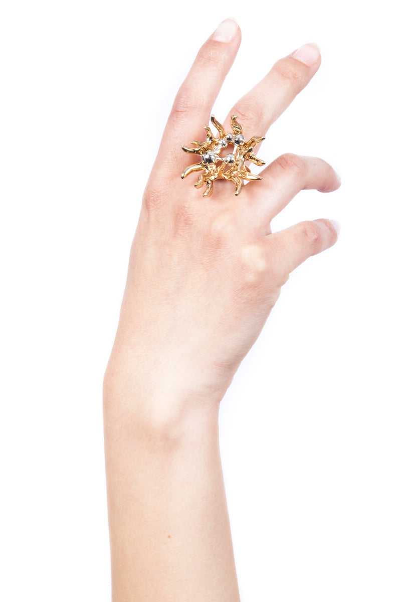 Model Hand Wearing Iris Trends Chemical Fire Designer Statement Ring by SCHIELD Italy