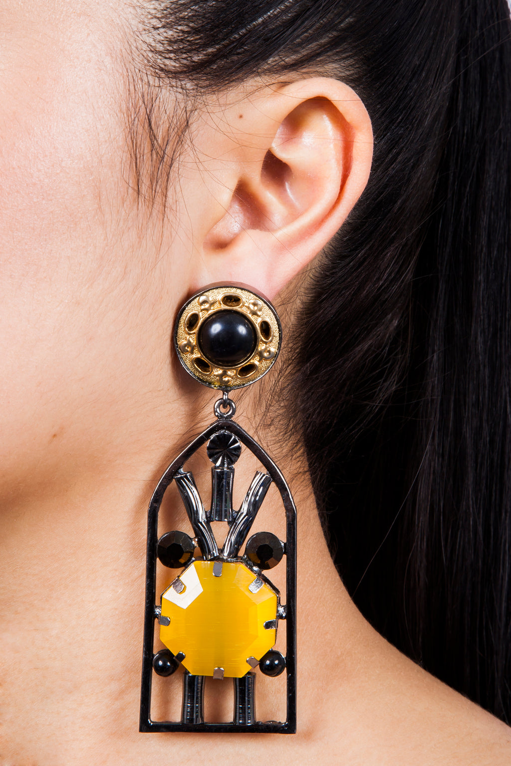 Iris Trends Arch Window Statement Earrings by Valliyan India