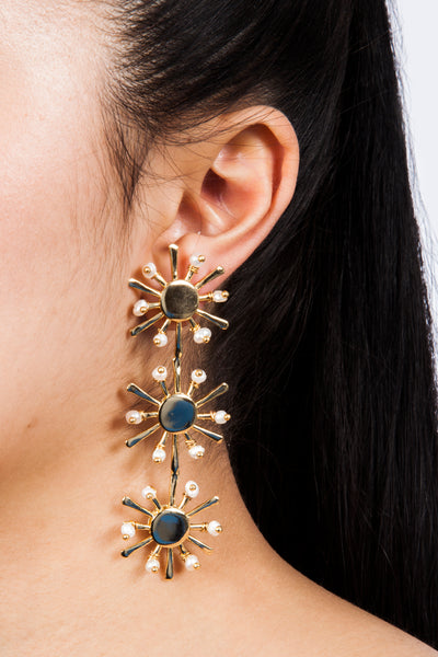 Colombian Jewelry Sunshine Earrings Gold