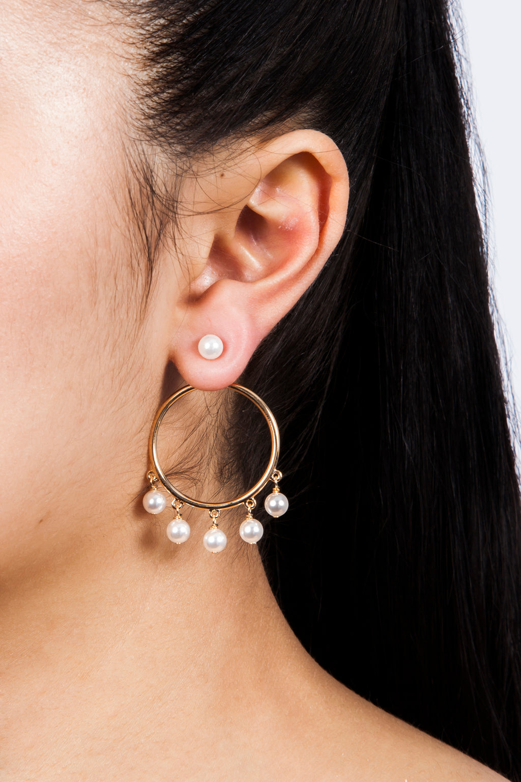 Eshvi Gold and Pearl Hoop Earrings