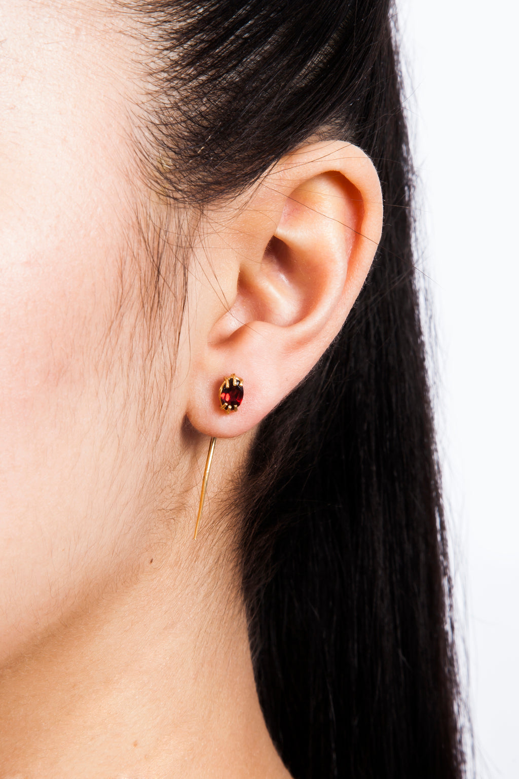 Beatriz Palacios Garnet Tusk Earring Single Earring