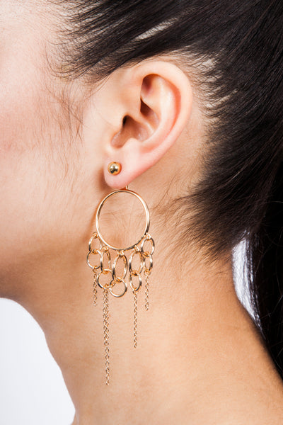 Eshvi Chain Hoop Earrings Gold Plated