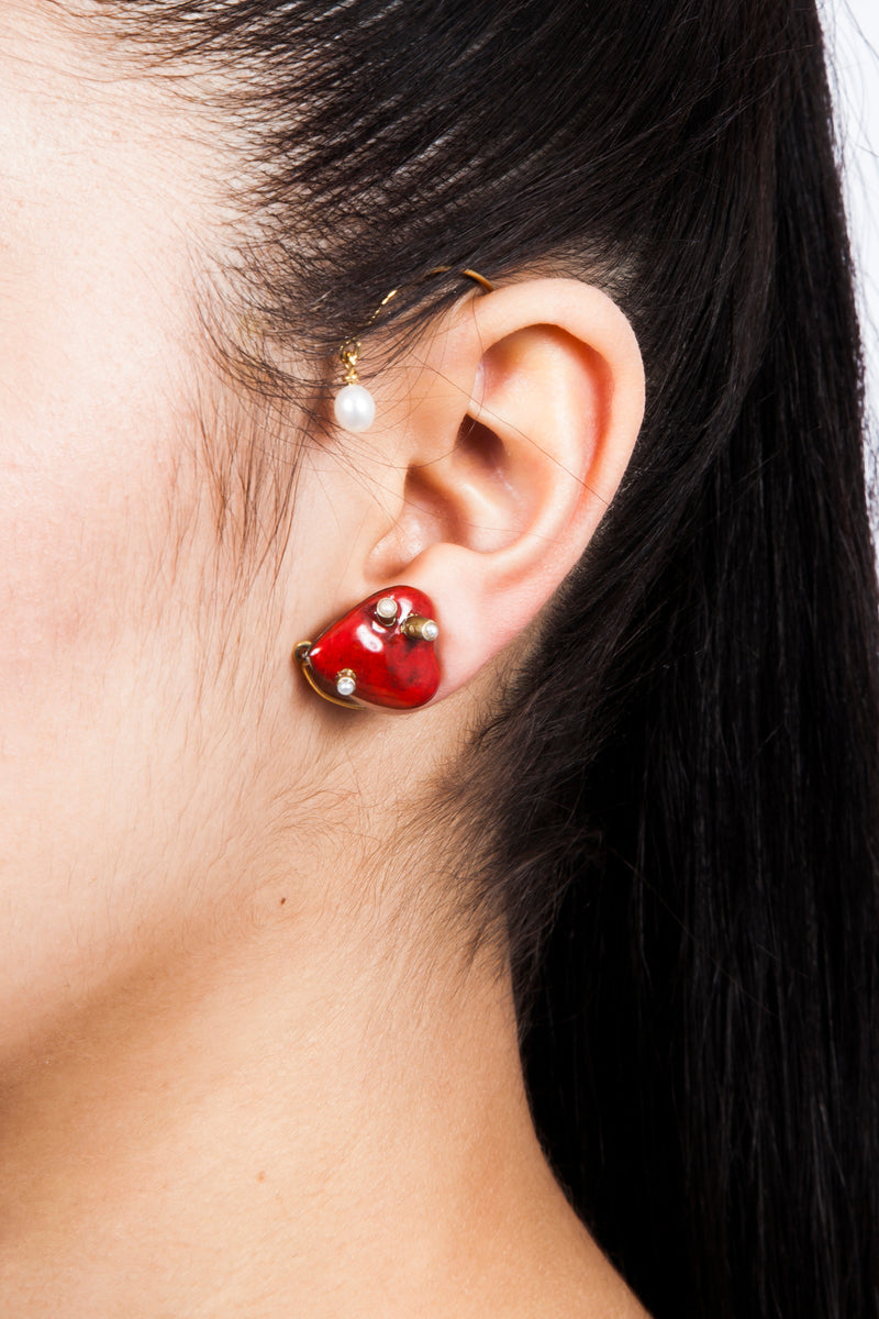 Beatriz Palacios Heart Ear Cuff with Fresh Water Pearls